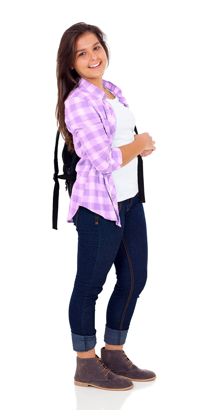 Girl standing with backpack