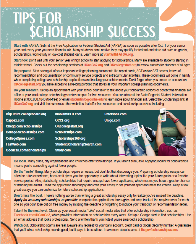 PDF of the Scholarship Success Guide opens in a new tab.